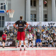 The Riga City Festival baskeball match in the old city of center — Zdjęcie stockowe
