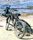 Two bikes on the Baltic beach — Stock Photo