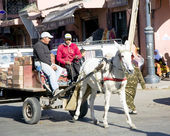Cart harnessed by a horse on the streets of Marrakesh — Stock Photo