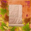 Autumn background with foliage and grunge papers design in scrap - Стоковая фотография