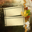 Autumn background with foliage and grunge papers design in scrap - Stock Photo