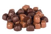 Set of tasty chocolates isolated on a white background — Stock Photo