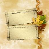 Fondo de otoño con follaje y grunge diseño de papeles de desecho — Foto de Stock