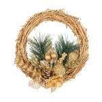 Boże Narodzenie złoty wieniec z gałęzi drzew iglastych na biały isol — Zdjęcie stockowe