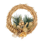 Christmas golden wreath with coniferous branch on the white isol — Stock Photo