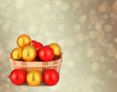 Wooden basket with a set of colorful Christmas balls on the abst — Stock Photo