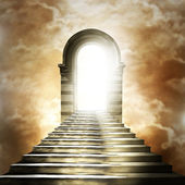 Staircase leading to heaven or hell. Light at the End of the Tun — Fotografia Stock