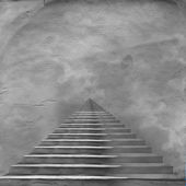 The stairway to heaven leading to God on the old paper — Stock Photo