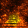 Old stone staircase with glowing blur bokeh — Stock Photo