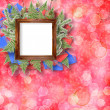 Abstract star background with wooden frame and bunch of twigs Ch — Stock Photo #14943769