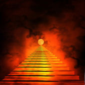 лестница, ведущая на небеса или в ад. свет в конце тун — Стоковое фото