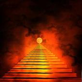 Escalier menant au paradis ou en enfer. lumière à la fin de la tun — Photo