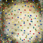 Abstract scratch paper background with multicolored confetti — Stock Photo
