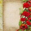Card for congratulation or invitation with red roses — Stock Photo #14961477