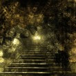 Foto Stock: Stone stairs in old paper background with blur boke