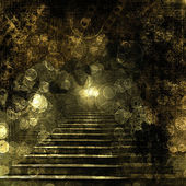 Stone stairs in the old paper background with blur boke — Stock Photo