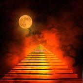 Escalera que conduce al cielo o al infierno. luz al final de la tun — Foto de Stock