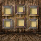 Old room, grunge industrial interior, worn surface, wooden frame — Stock Photo
