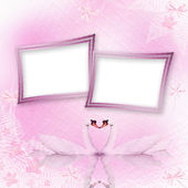 Greeting Card to wedding with swans on the pink background — Stock Photo