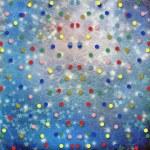 niebieskie tło wesoły wielobarwny konfetti i gwiazdy — Zdjęcie stockowe