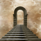 Staircase leading to heaven or hell. Light at the End of the Tun — Stockfoto