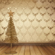 Christmas golden spruce in the old room, decorated with wallpape — Stockfoto