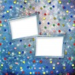 Blue cheerful background with multicolored confetti and stars - Stockfoto