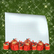 Christmas greeting card with presents on the  green abstract bac - Stock Photo