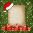 Christmas greeting card with presents on the  green abstract bac — ストック写真