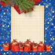 Christmas greeting card with presents on the  blue abstract back - Stock Photo