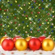 Stock Photo: Christmas ball with greeting card on the abstract sparkling back