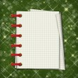 Christmas greeting card with notebook on the  green abstract bac — Foto de Stock