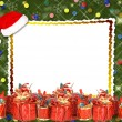 Christmas greeting card with presents on the  green abstract bac — Foto de Stock