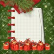 Christmas greeting card with presents on the  green abstract bac - Stock fotografie