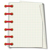 Grunge notebook. A writing-book in a section with golden clip an — Stock Photo