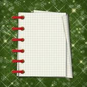 рождественская открытка с ноутбука на зеленый абстрактный bac — Стоковое фото