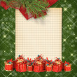 Stock Photo: Christmas greeting card with presents on the green abstract bac