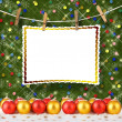 Greeting card hanging on a rope and clothespins with christmas b — Stock Photo