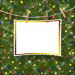 Greeting card hanging on a rope and clothespins  on the abstract — Stock Photo
