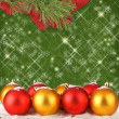 Christmas ball with pine branches on the abstract background — Stock Photo