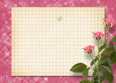 Card for congratulation or invitation with bunch of pink roseske — Φωτογραφία Αρχείου