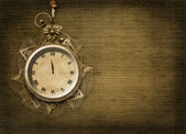 Antique clock face with lace and firtree on the abstract backgro — Stock Photo
