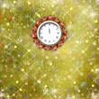 Christmas gifts to the clock on the abstract background with con - Stock Photo