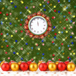 Christmas balls and gifts to the clock on the abstract backgroun — Stok fotoğraf