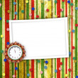 Stock Photo: Christmas gifts to the clock on the abstract background with con