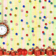 Christmas gifts to the clock on the abstract background with con — Stock Photo