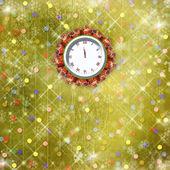Julklappar till klockan på abstrakt bakgrund med con — Stockfoto