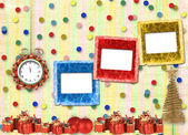 Gifts and balls under the Christmas tree on the abstract backgro — Stock Photo