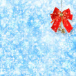 Abstract snowy background with snowflakes, stars and red bow — Stock Photo #15968433