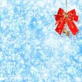 Abstract snowy background with snowflakes, stars and red bow — Stock Photo